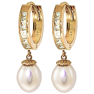 Pearl and White Topaz Huggie Earrings 9.3ctw in 9ct Gold