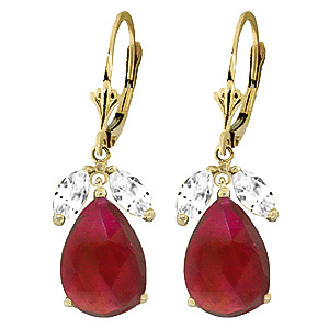 Ruby and White Topaz Drop Earrings 10.0ctw in 9ct Gold