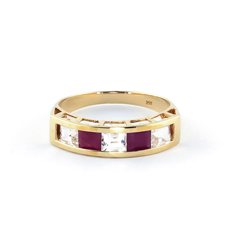 Ruby and White Topaz Ring 2.35ctw in 9ct Gold