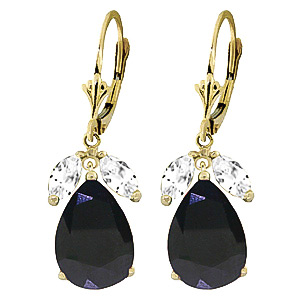 Sapphire and White Topaz Drop Earrings 9.3ctw in 9ct Gold