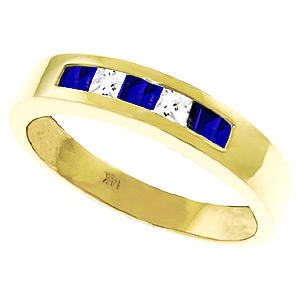 Sapphire and White Topaz Ring 0.78ctw in 9ct Gold