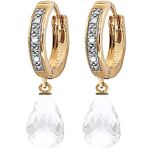 Diamond and White Topaz Earrings in 9ct Gold