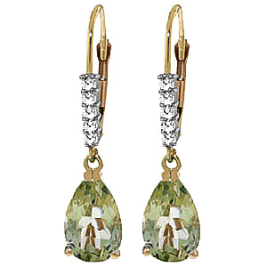 Green Amethyst & Diamond Belle Drop Earrings in 9ct Gold