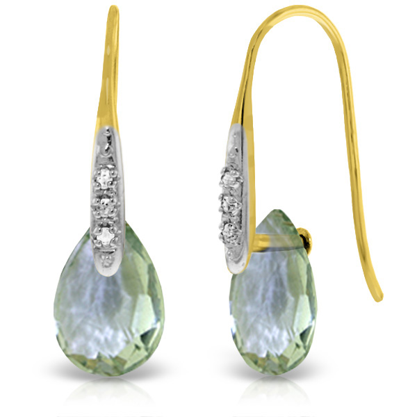 Green Amethyst & Diamond Drop Earrings in 9ct Gold