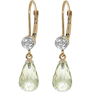 Green Amethyst & Diamond Illusion Drop Earrings in 9ct Gold