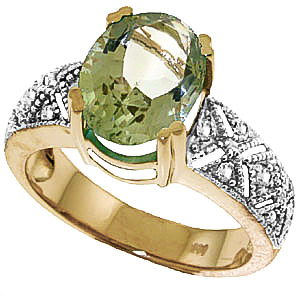 Green Amethyst & Diamond Renaissance Ring in 9ct Gold