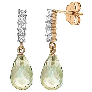 Green Amethyst & Diamond Stem Droplet Earrings in 9ct Gold