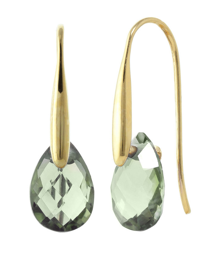 Green Amethyst Briolette Drop Earrings 6 ctw in 9ct Gold
