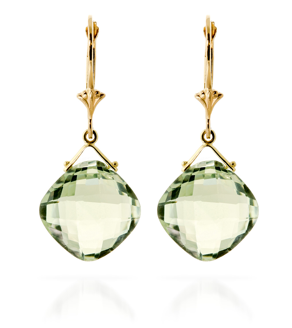 Green Amethyst Deflection Drop Earrings 17.5 ctw in 9ct Gold