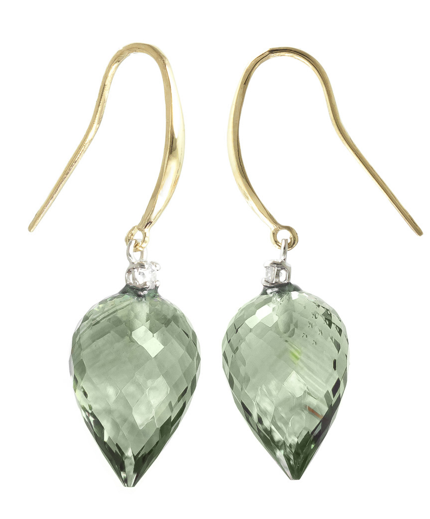 Green Amethyst Drop Earrings 19.1 ctw in 9ct Gold