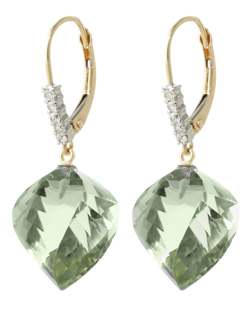 Green Amethyst Drop Earrings 26.15 ctw in 9ct Gold