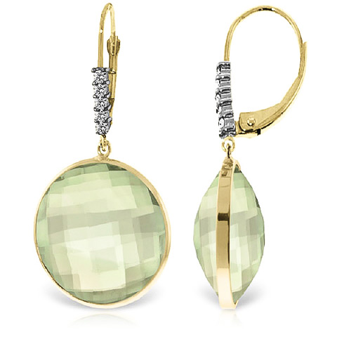 Green Amethyst Drop Earrings 36.15 ctw in 9ct Gold