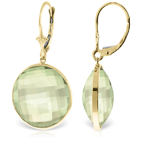 Green Amethyst Drop Earrings 36 ctw in 9ct Gold