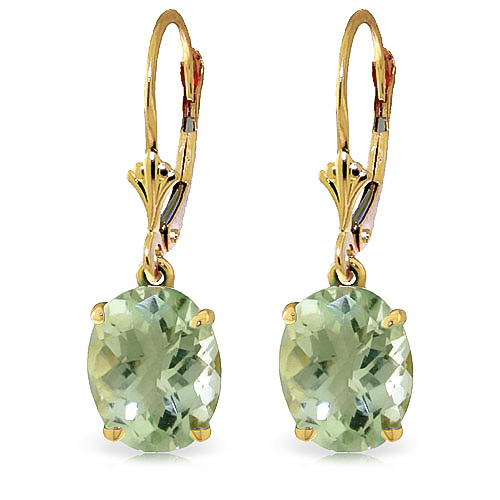 Green Amethyst Drop Earrings 6.25 ctw in 9ct Gold
