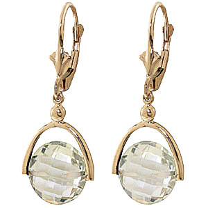 Green Amethyst Drop Earrings 6.5 ctw in 9ct Gold