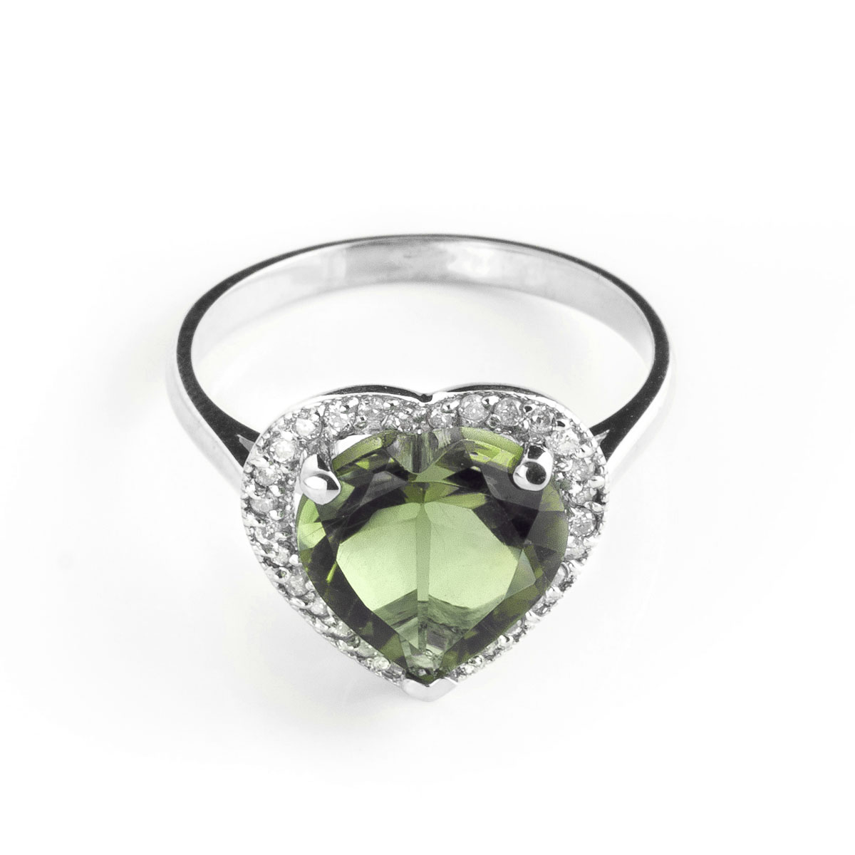 Green Amethyst Halo Ring 3.24 ctw in 9ct White Gold