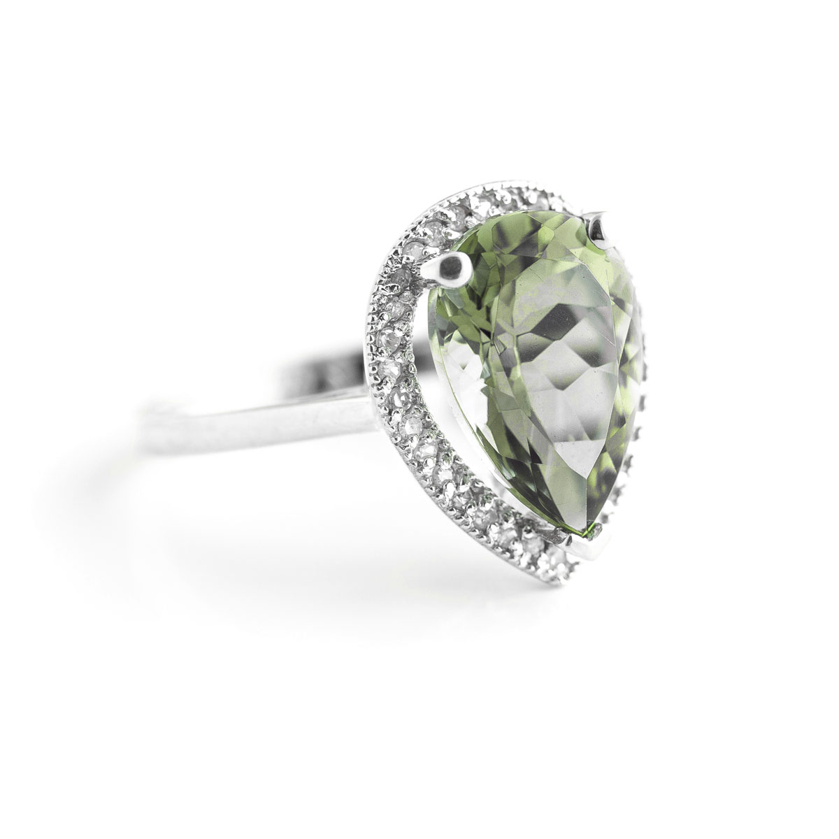 Green Amethyst Halo Ring 3.41 ctw in 9ct White Gold