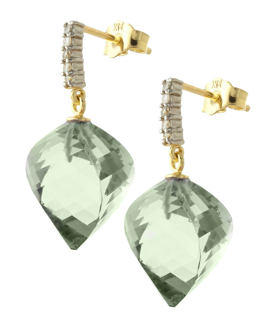Green Amethyst Stud Earrings 26.15 ctw in 9ct Gold