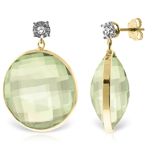 Green Amethyst Stud Earrings 36.06 ctw in 9ct Gold