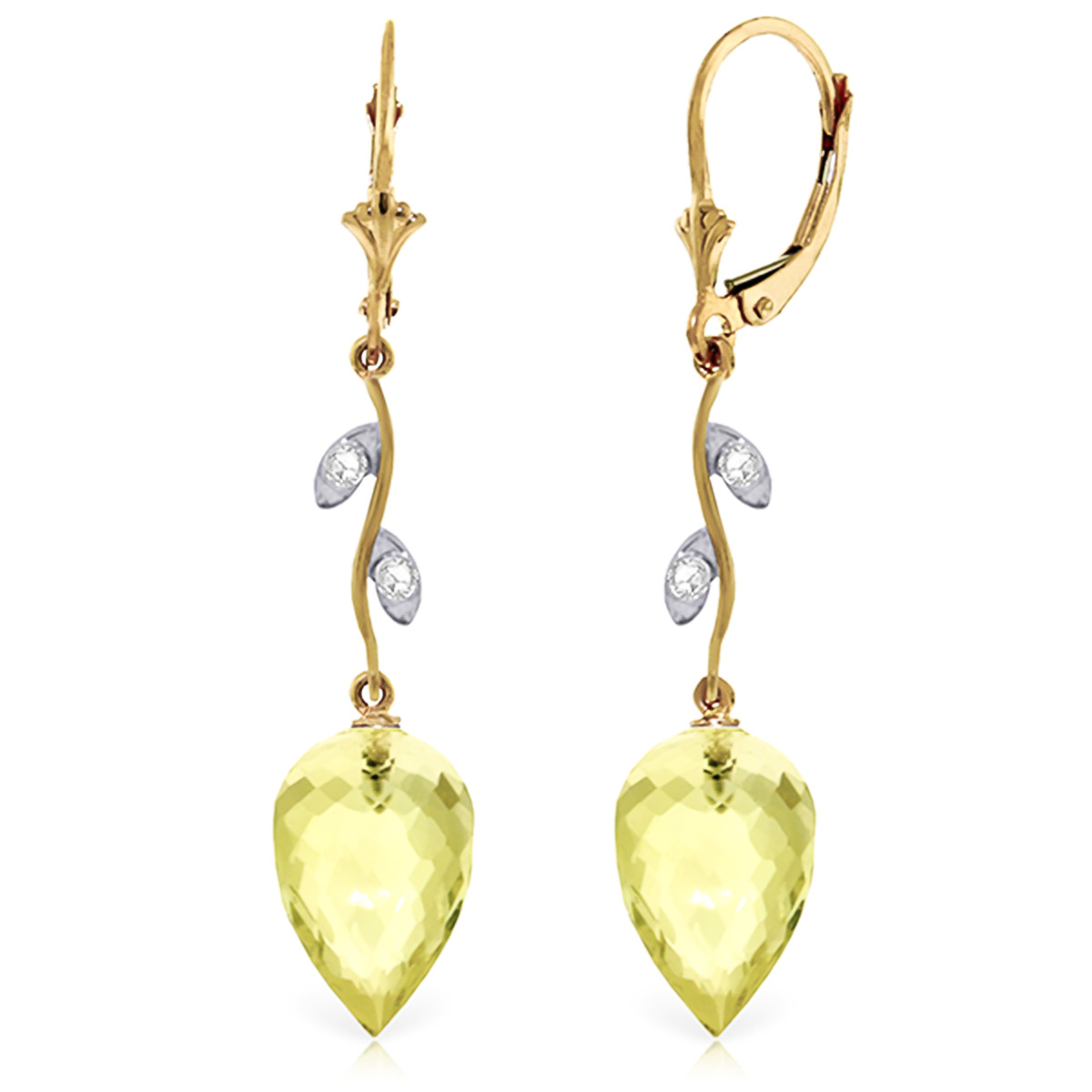 Lemon Quartz Drop Earrings 18.02 ctw in 9ct Gold
