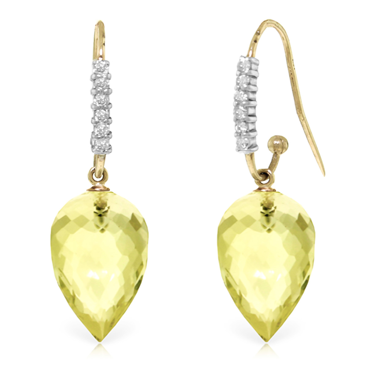 Lemon Quartz Drop Earrings 18.18 ctw in 9ct Gold