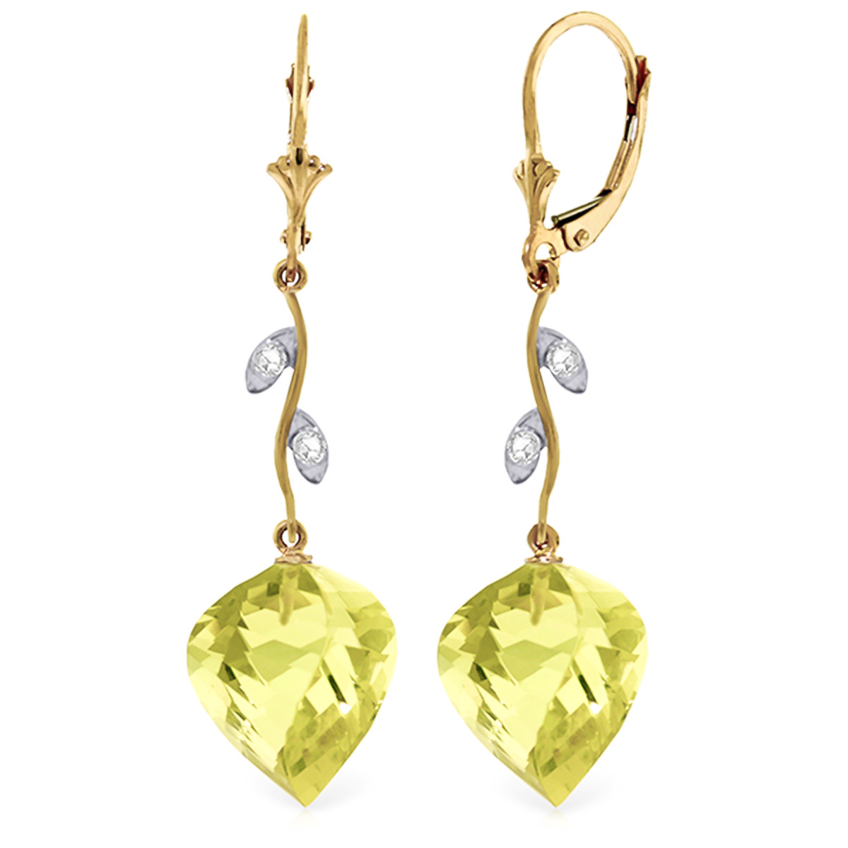 Lemon Quartz Drop Earrings 21.52 ctw in 9ct Gold