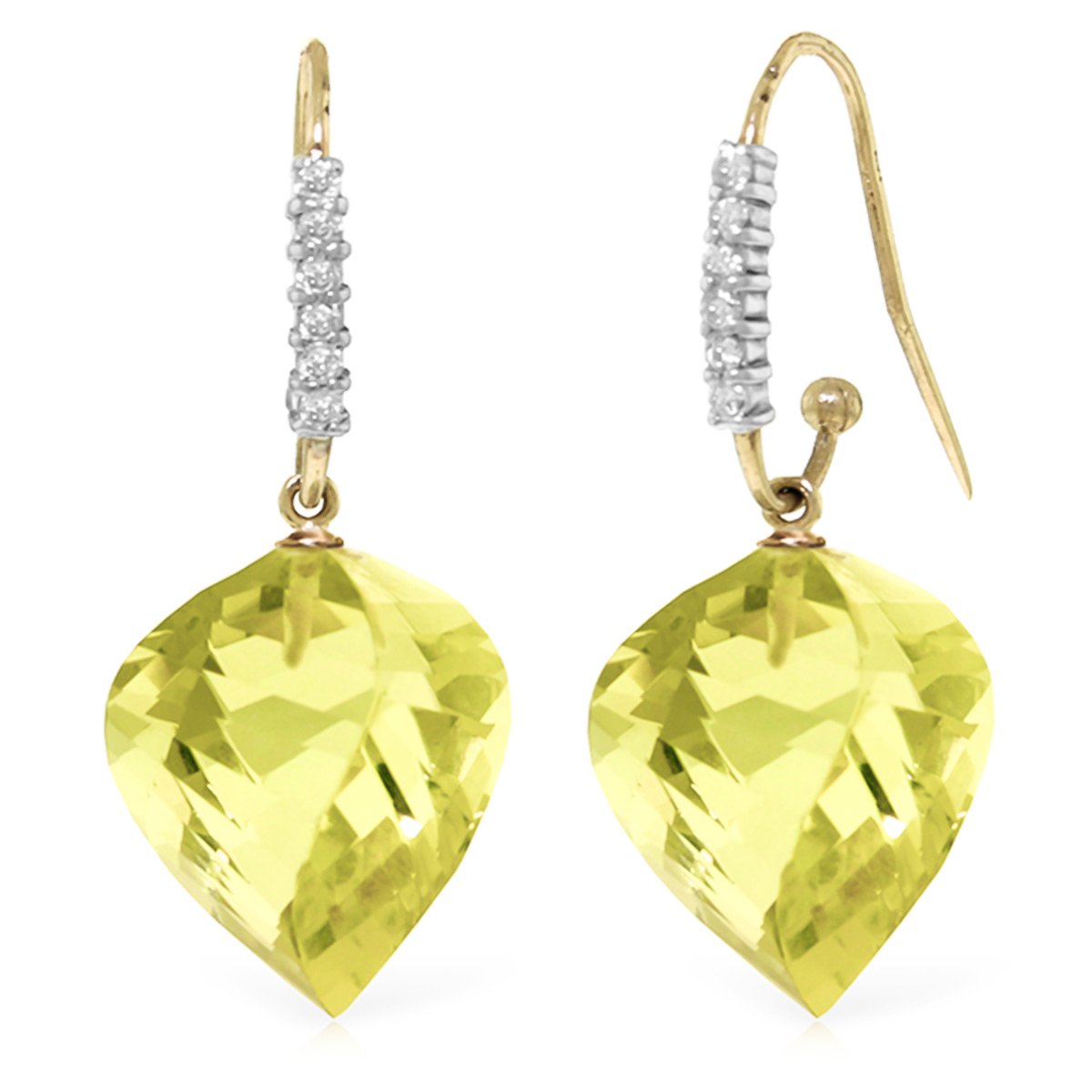 Lemon Quartz Drop Earrings 21.68 ctw in 9ct Gold