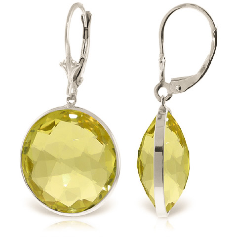 Lemon Quartz Drop Earrings 34 ctw in 9ct White Gold