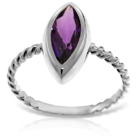 Marquise Cut Amethyst Ring 1.7 ct in 9ct White Gold