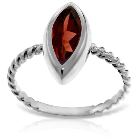 Marquise Cut Garnet Ring 2 ct in 9ct White Gold