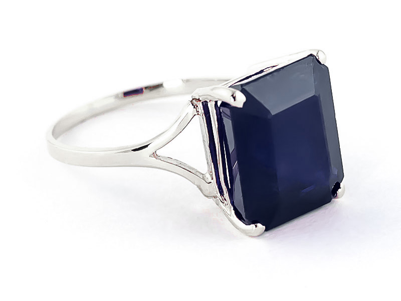 Octagon Cut Sapphire Ring 7 ct in 9ct White Gold