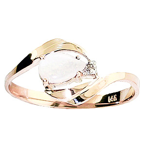 Opal & Diamond Flare Ring in 18ct Rose Gold