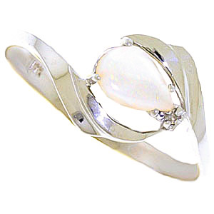Opal & Diamond Flare Ring in 9ct White Gold