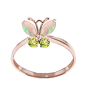 Opal & Peridot Butterfly Ring in 9ct Rose Gold