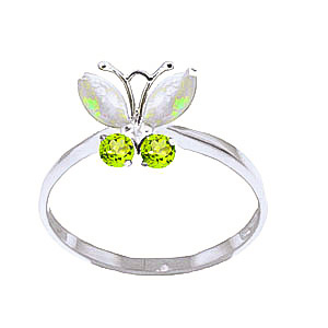 Opal & Peridot Butterfly Ring in 9ct White Gold