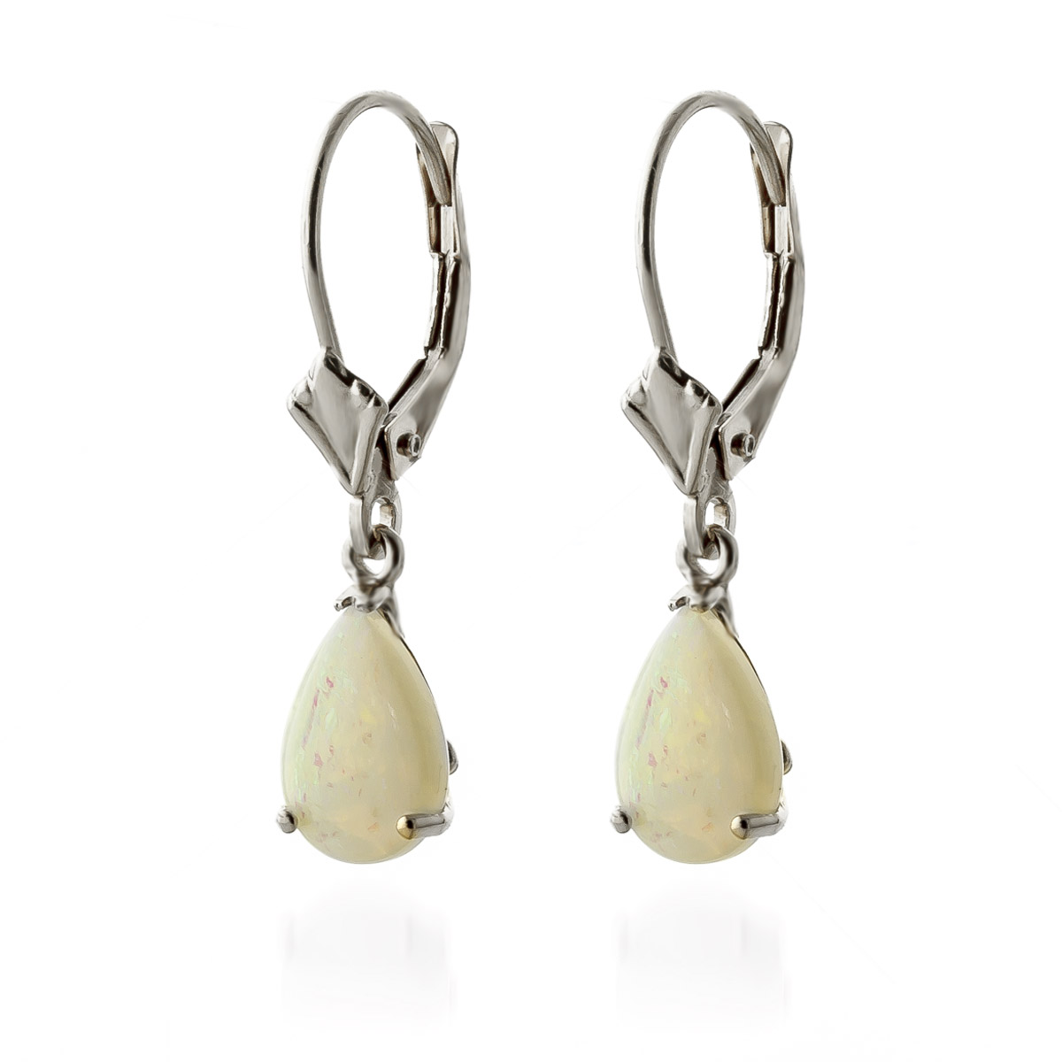 Opal Belle Drop Earrings 1.55 ctw in 9ct White Gold