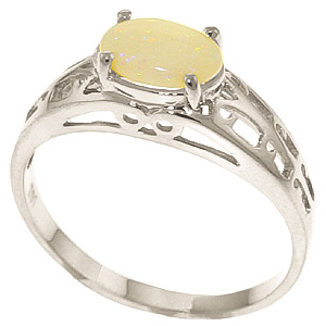 Opal Catalan Filigree Ring 0.45 ct in 9ct White Gold
