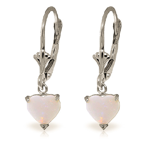 Opal Drop Earrings 1.3 ctw in 9ct White Gold