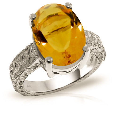 Oval Cut Citrine Ring 6.5 ct in 9ct White Gold