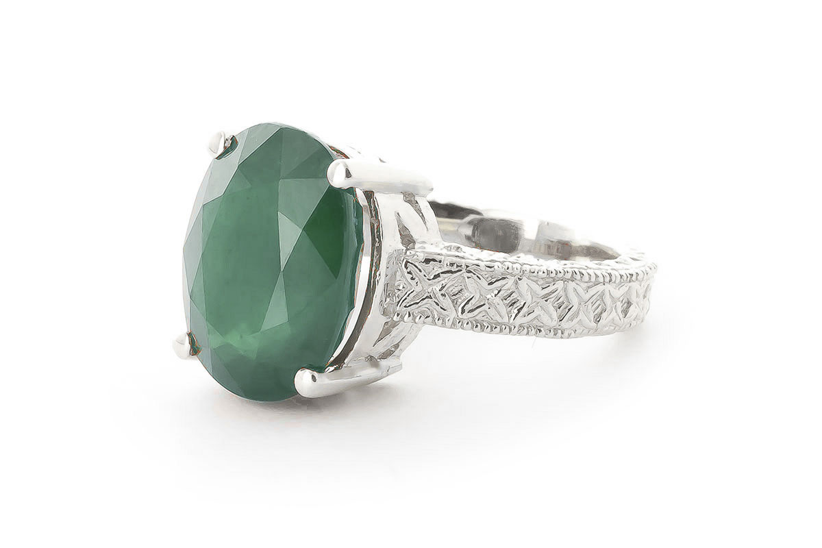 Oval Cut Emerald Ring 6.5 ct in 18ct White Gold