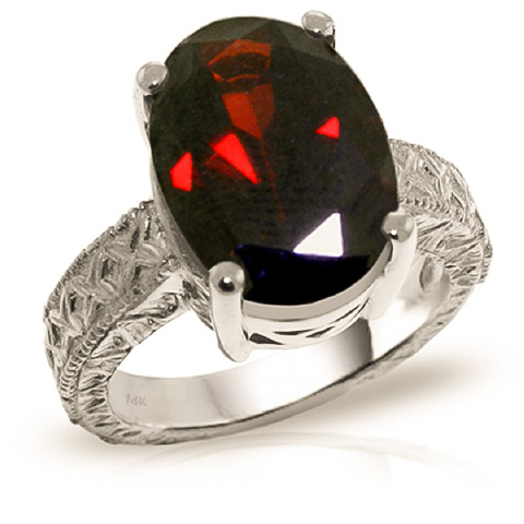 Oval Cut Garnet Ring 6 ct in 9ct White Gold