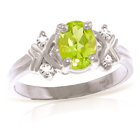 Oval Cut Peridot Ring 0.97 ctw in 18ct White Gold