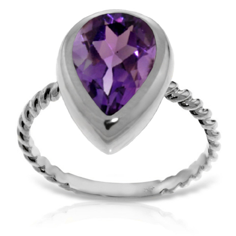 Pear Cut Amethyst Ring 2.5 ct in 9ct White Gold