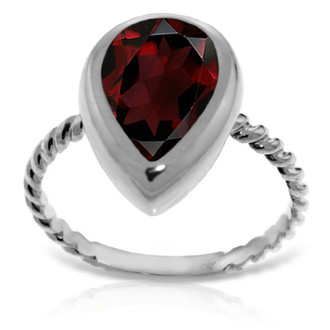 Pear Cut Garnet Ring 3.5 ct in 9ct White Gold