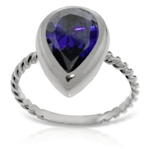 Pear Cut Sapphire Ring 3.5 ct in 9ct White Gold