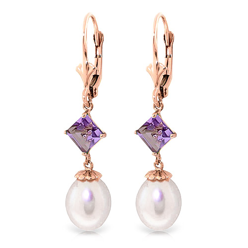 Pearl & Amethyst Droplet Earrings in 9ct Rose Gold