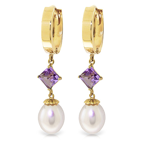 Pearl & Amethyst Droplet Huggie Earrings in 9ct Gold