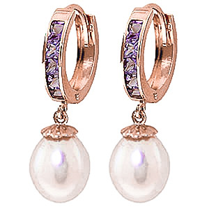 Pearl & Amethyst Huggie Earrings in 9ct Rose Gold