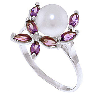Pearl & Amethyst Ivy Ring in 9ct White Gold