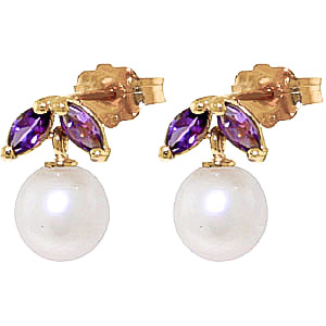 Pearl & Amethyst Snowdrop Stud Earrings in 9ct Gold